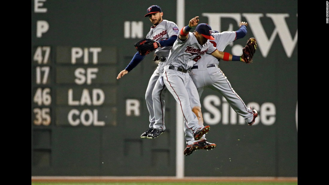 From left, Shane Robinson, Eddie Rosario and Aaron Hicks celebrate after the Minnesota Twins defeated the Boston Red Sox 2-0 on Wednesday, June 3.