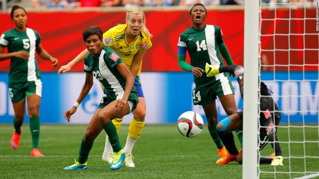 Sweden's Linda Sembrant scores her team's third goal against Nigeria.