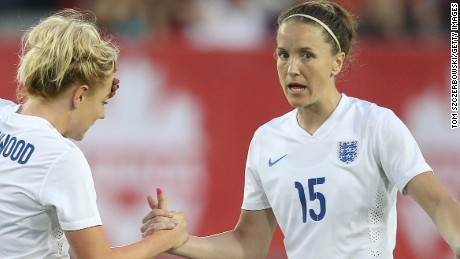 Alex Greenwood #14 of England talks to Casey Stoney #15 against Canada during their Women's International Friendly match on May 29, 2015 at Tim Hortons Field in Hamilton, Ontario, Canada. (Photo by Tom Szczerbowski/Getty Images)