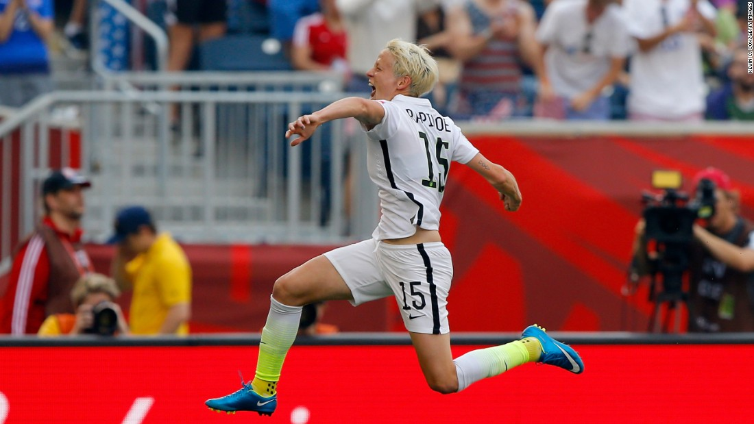 Rapinoe celebrates after scoring a goal against Australia in the team's opening match Monday, June 8, in Winnipeg. Rapinoe would later score again as the United States won 3-1.