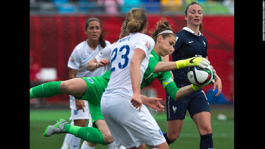 England goalkeeper Karen Bardsley makes a save during the first half.