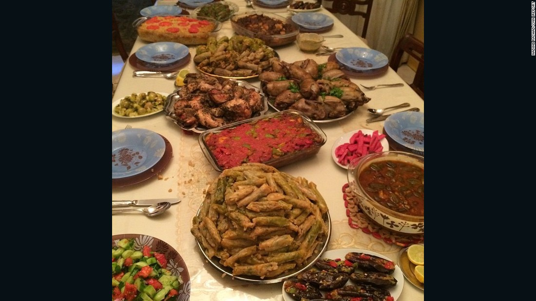 "<strong>The food: </strong>Canadian Instagrammer <a href=""http://ireport.cnn.com/docs/DOC-1248052"">Nadine Rashad</a> says one of the most unique -- and delicious -- things about her familial homeland is the food. The picture showing a delicious home cooked spread was the work of her aunt. ""There were more plates of food on the table than guests,"" she says."
