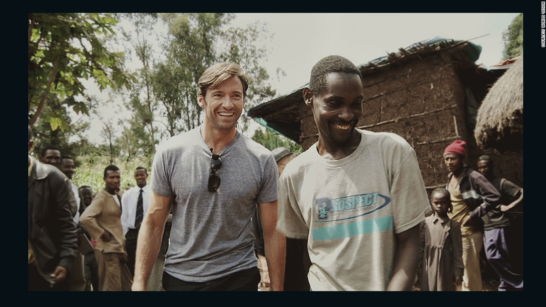 Hugh Jackman joins Ethiopian coffee farmer Dukale at his home. Jackman's volunteer work in Ethiopia spurred him to create a foundation and company to promote fair-trade coffee.