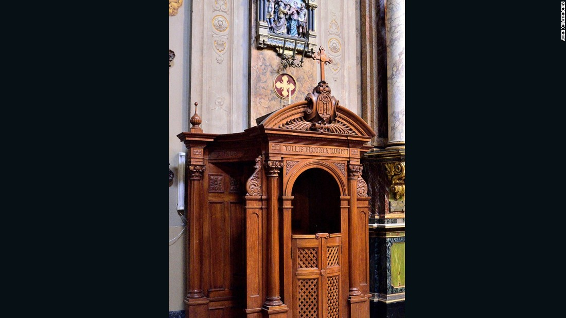This confessional, where Francis came as a teenager, is where he supposedly began his journey to the Vatican.
