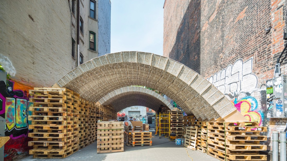 Teams at the Future Cities Laboratory at ETH Zurich are exploring other uses for city waste as materials for construction. Pictured here, a pavilion built for the Ideas City Festival 2015 in New York, USA. Similar concepts are being explored for Singapore.
