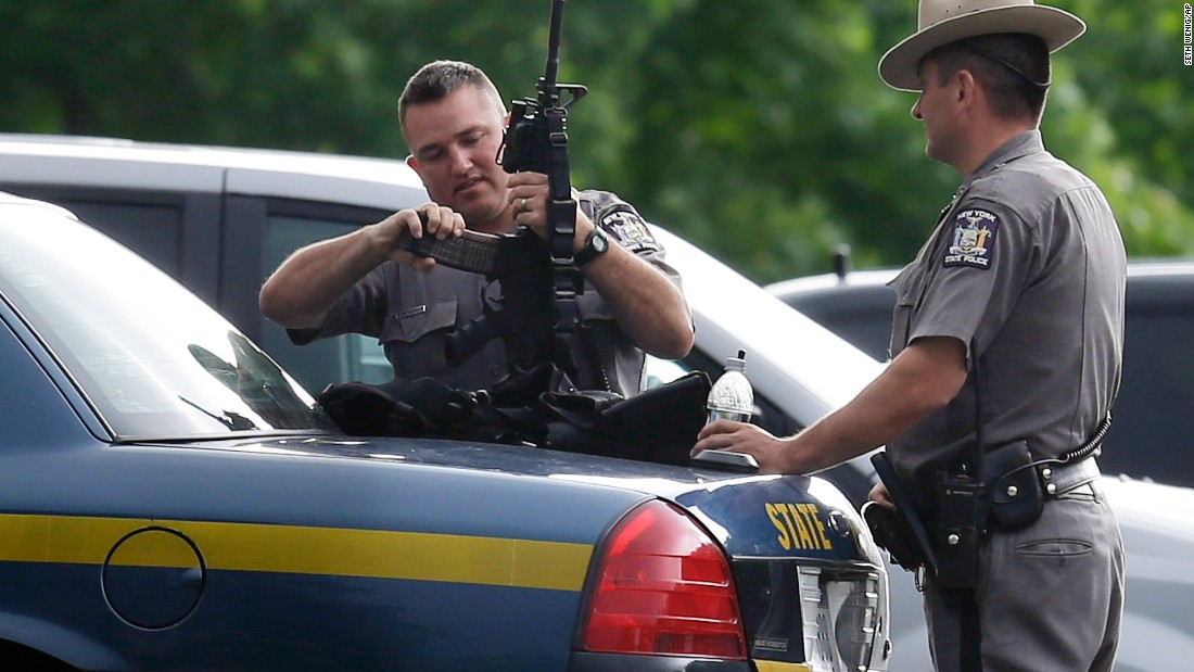 New York State Police prepare equipment during the search on Thursday, June 11.