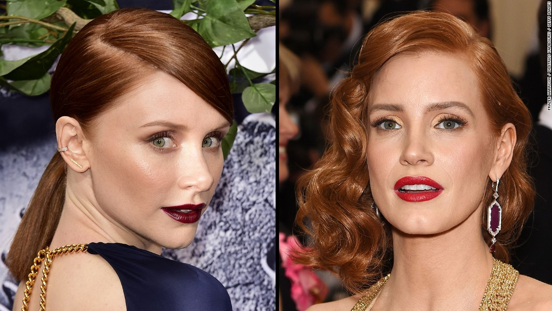 "Actresses Bryce Dallas Howard, left, and Jessica Chastain ""put an end to the confusion"" by asserting that despite popular opinion, they are NOT the same person. <a href=""http://www.people.com/article/bryce-dallas-howard-responds-jessica-chastain-musical-video"" target=""_blank"">A parody video</a> that mashed up the pair led to some priceless remixes."