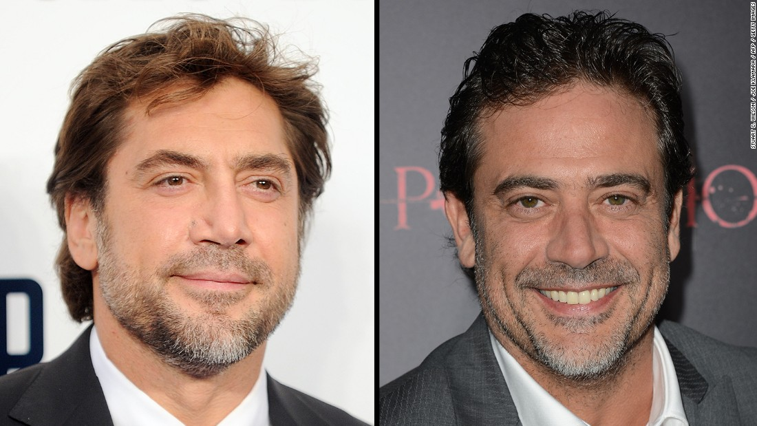 "Spanish actor Javier Bardem, left, has been richly rewarded for serious roles in films such as ""The Sea Inside"" and ""No Country for Old Men."" Television and film actor Jeffrey Dean Morgan could probably stand in Bardem's place to accept one of those awards, and nobody would be the wiser. Eerie, right?"