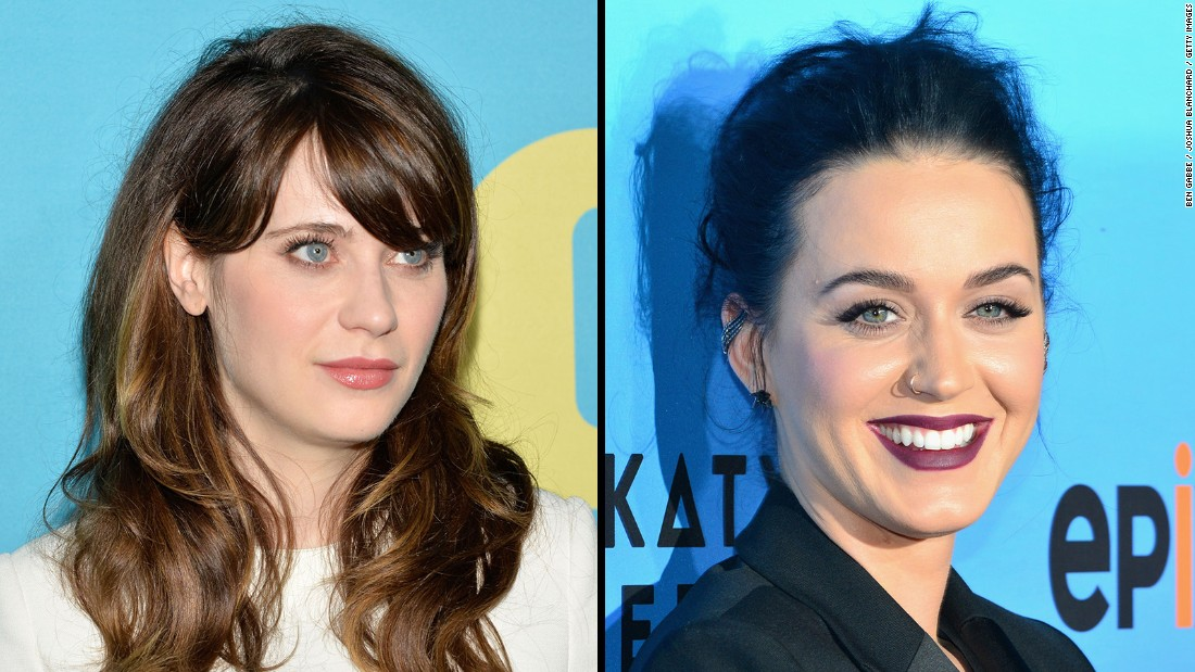 With their blue eyes and dark hair, actress-singer Zooey Deschanel, left, and pop star Katy Perry are dead ringers. Honorable mention in this lookalike competition goes to actresses Alexis Bledel and Fairuza Balk.