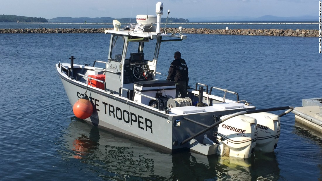 A Vermont state trooper heads out on Lake Champlain in Burlington, Vermont, on June 11.