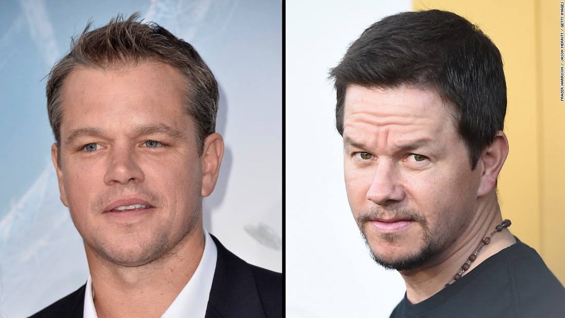 Matt Damon, left, and Mark Wahlberg both grew up around Boston and have played up Southie accents for film roles.