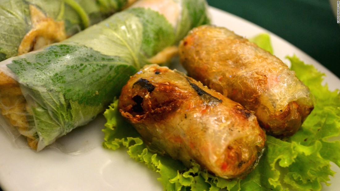 Goi cuon, left, are translucent spring rolls packed with salad greens, a slither of meat or seafood and a layer of coriander. As for the fried ones, in the north these parcels go by the name nem ran while southerners call them cha gio. The crispy shell surrounds a soft veggie and meat filling.