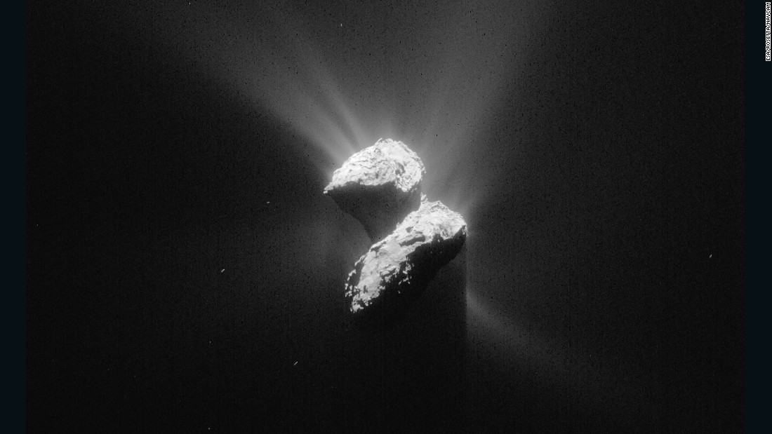 This image of Comet 67P/Churyumov-Gerasimenko was taken by Rosetta on June 5, 2015, while the spacecraft was about 129 miles (208 kilometers) from the comet's center.