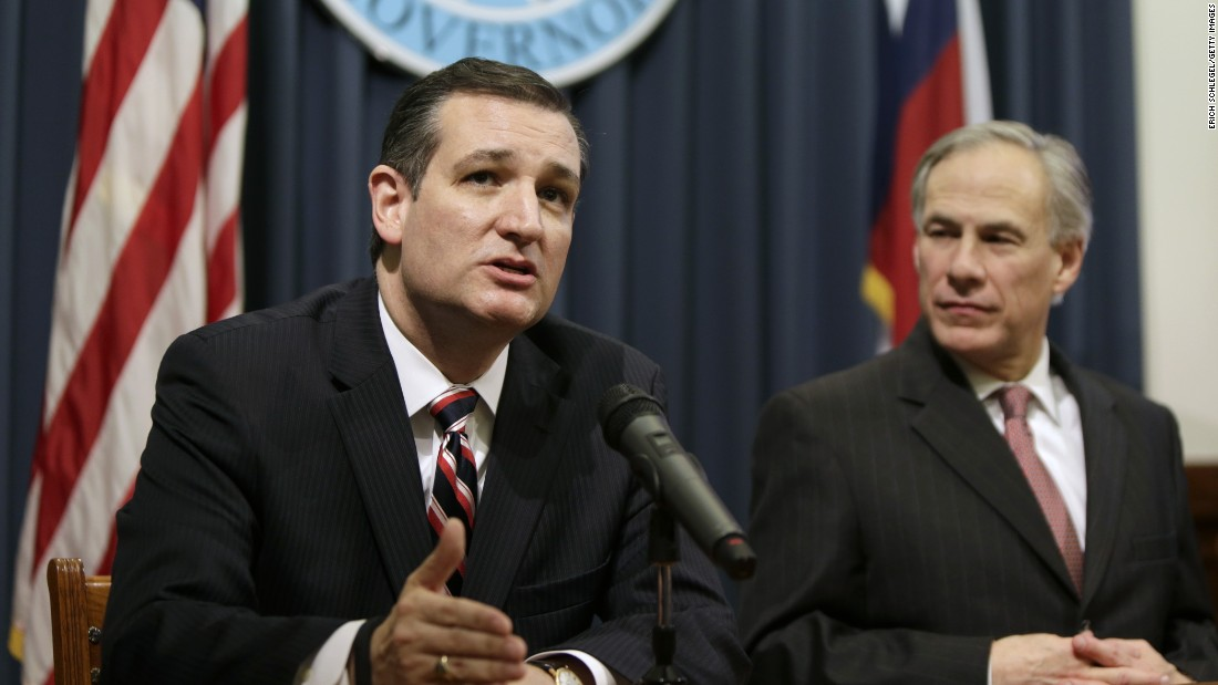"Sen. Ted Cruz, left, with Texas Gov. Greg Abbott, addresses the <a href=""http://www.cnn.com/2015/02/17/politics/texas-obama-immigration-injunction/"">ruling by a federal judge in Texas </a>delaying President Obama's executive action on immigration on February 18. Months later, on June 6, the 2016 presidential hopeful would hold a fund-raiser along the U.S.-Mexico border in McAllen, Texas."