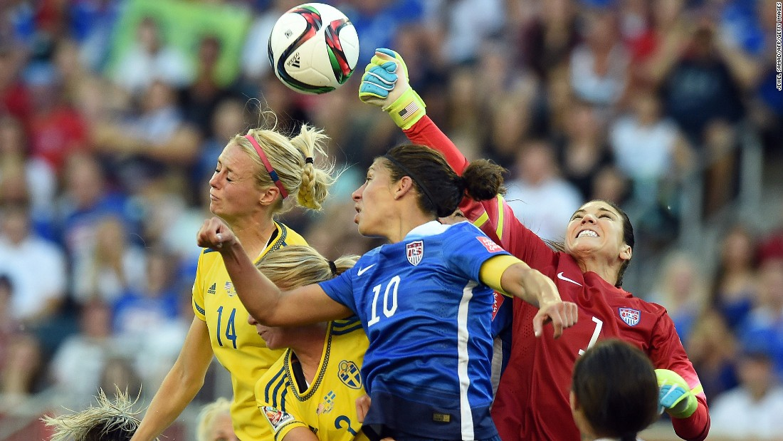 Solo, right, punches the ball away during a match against Sweden on Friday, June 12. The match in Winnipeg, Manitoba, ended in a 0-0 draw.