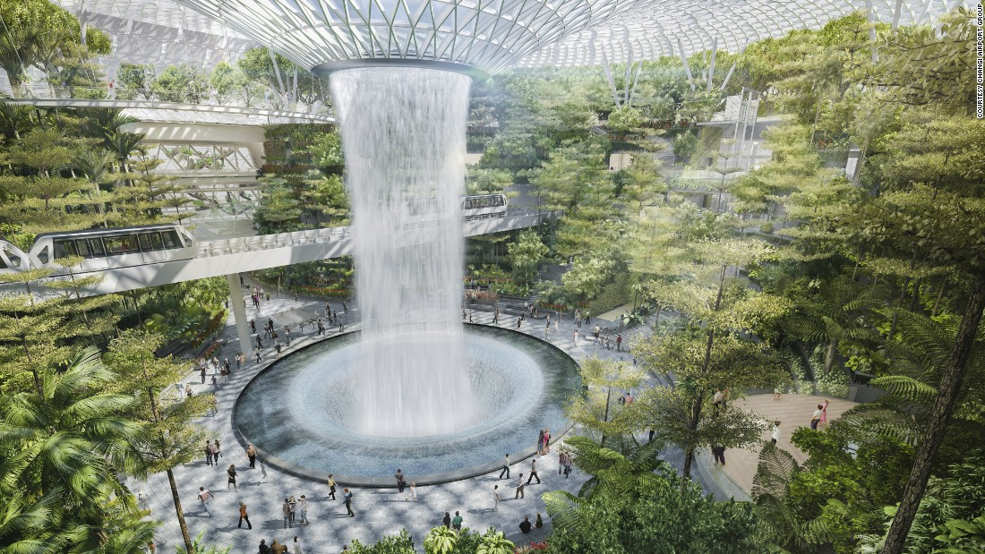 "Due to open in 2018, a new development called the ""jewel"" at Singapore's Changi International Airport will showcase a 40-meter ""rain vortex"" in what will be Singapore's largest indoor garden. Changi has repeatedly topped the list of the world's best airports."