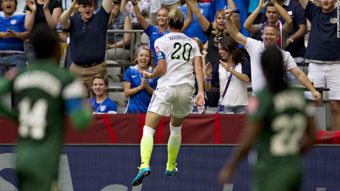 U.S. forward Abby Wambach celebrates her goal against Nigeria.