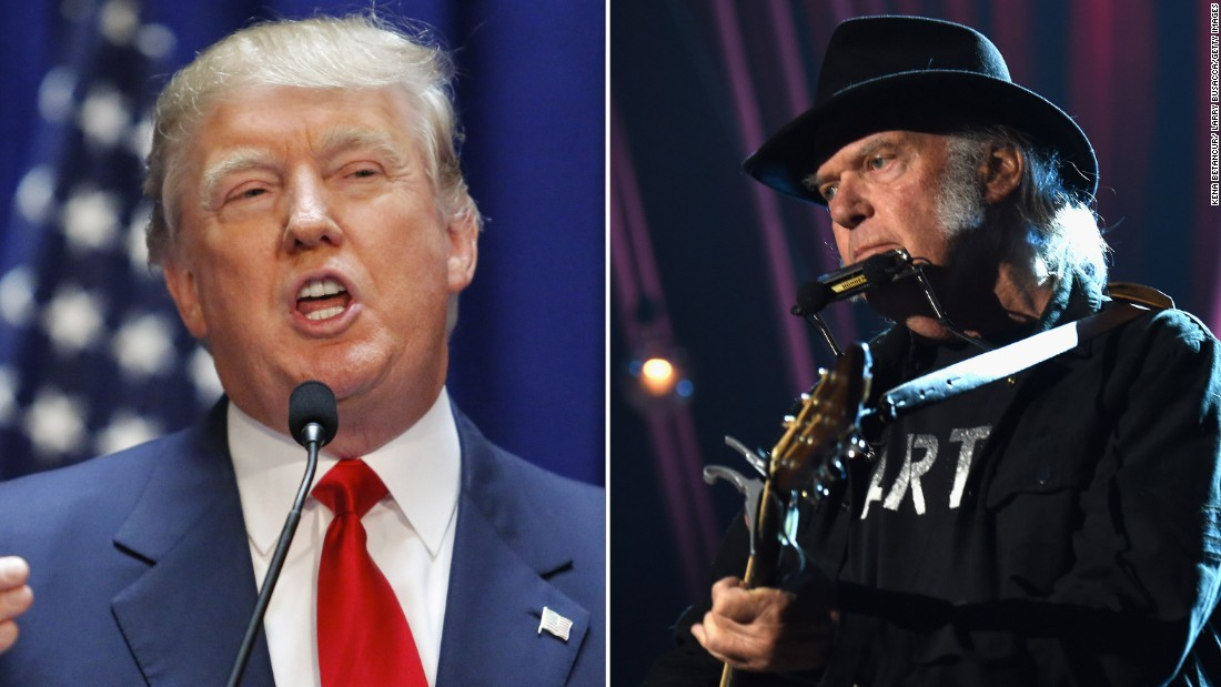 "Neil Young is not happy that Republican presidential candidate Donald Trump chose to use his song ""Rockin In The Free World"" when he announced his candidacy. It's not the first time a politician has run afoul of a rocker."