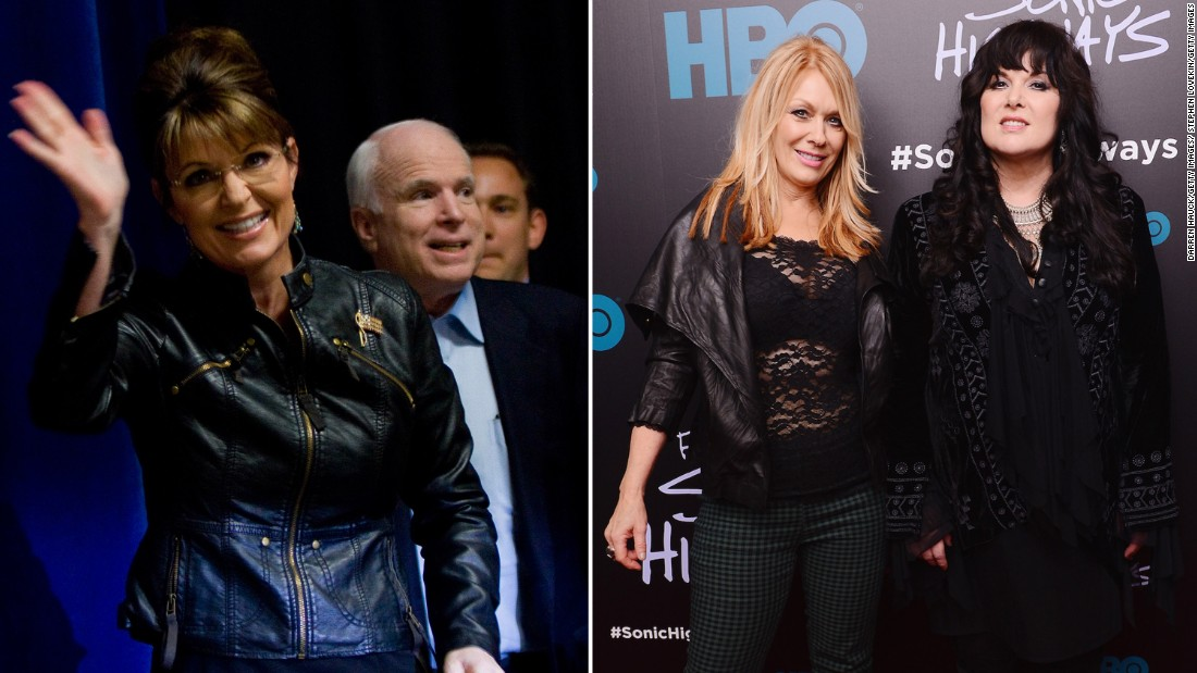 "The band Heart asked John McCain's presidential campaign in 2008 to stop using their song ""Barracuda."" The campaign was using the song in honor of vice-presidential candidate Sarah Palin, whose nickname at school was ""Sarah Barracuda."" Palin's ""views and values in no way represent us as American women,"" Ann and Nancy Wilson told Entertainment Weekly."