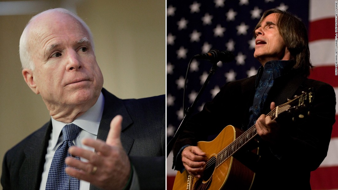 "McCain settled out of court with Jackson Browne for using his 1977 hit ""Running on Empty"" in a campaign ad without the artist's permission."