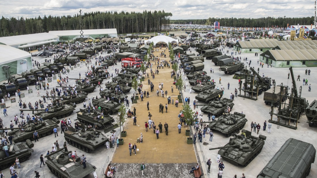 This panoramic view shows dozens of Russian weapons on display.