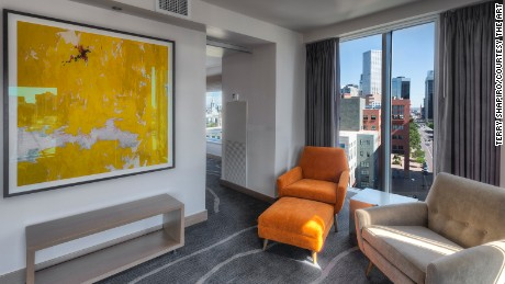 A painting by Clyfford Still hangs at The Art, Denver's newest high-style hotel.