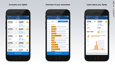 The app records users' health before, during and after taking to the skies