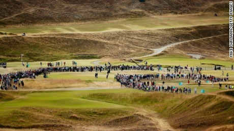 Fans gather on the course at Chambers Bay, Washington, to watch the first round of the 2015 U.S. Open.