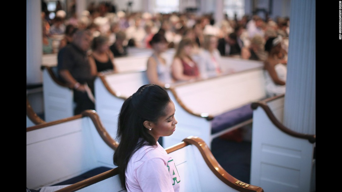 Mourners gather for a community prayer service at Second Presbyterian Church in Charleston on June 18.
