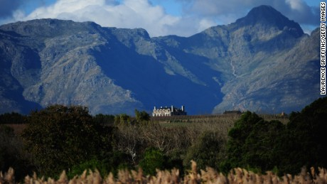 CAPE TOWN, SOUTH AFRICA - JUNE 09: A Wine Estate sits proudly at the foot of the Mountains near Stellenbosch on June 9, 2010 in Cape Town, South Africa.