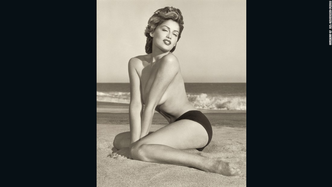 "Photographers were given the  creative license to capture the women in styles that range from classic to the avant-garde.<br /><br />Model Laetitia Casta represented the 1950s in <a href=""http://www.herbritts.com"" target=""_blank"">Herb Ritts</a>'s 1999 calendar, which was shot completely in black and white in L.A."
