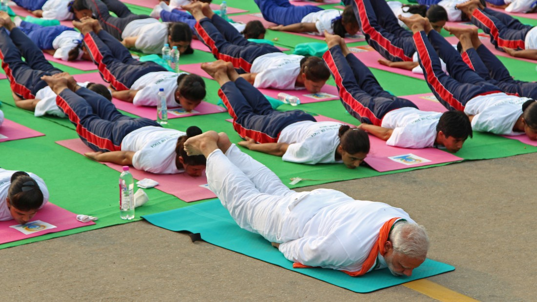 Modi was among the thousands of yoga devotees taking part in the first International Day of Yoga. This pose is called Salabhasana, which strengthens the muscles of the spine, buttocks, arms and legs. It's said to help to relieve stress.