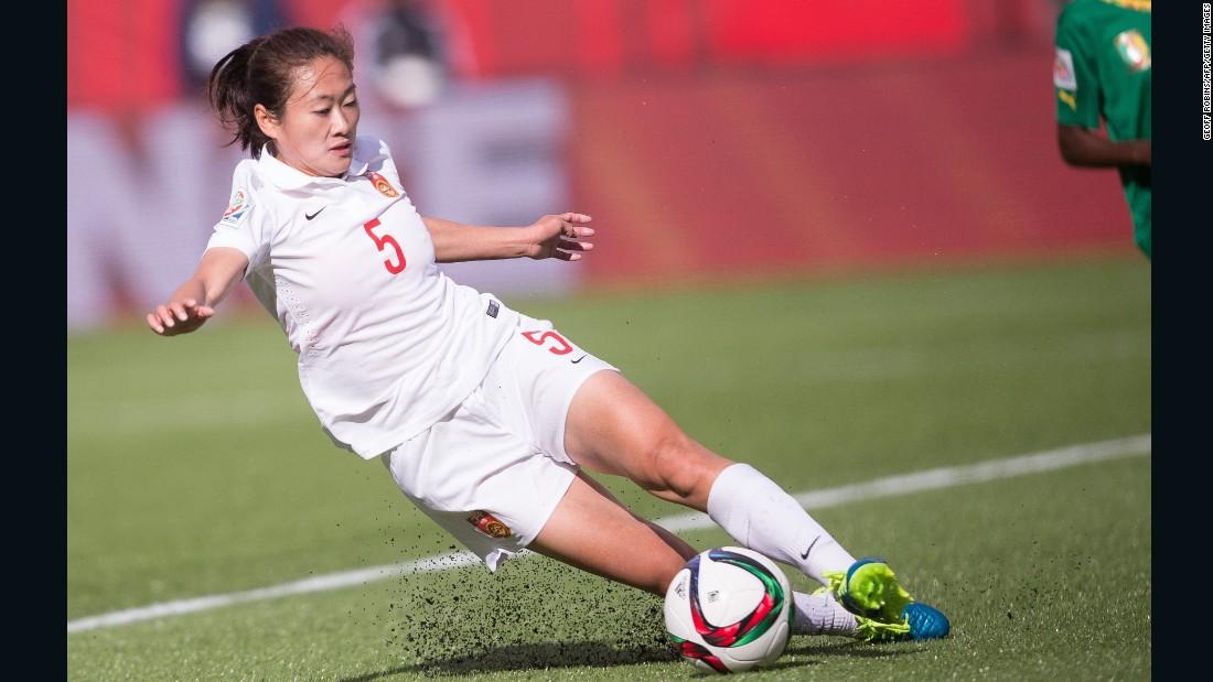 China's Wu Haiyan stops the ball.