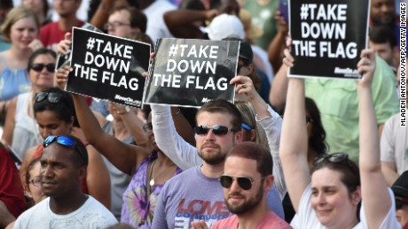 Hundreds of people gather for a protest rally against the Confederate flag in Columbia, South Carolina on June 20, 2015.
