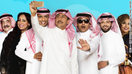 "The cast of ""Selfie,"" created by Saudi comedian Nasser Al Qasabi. The show attacks extremism with humor."