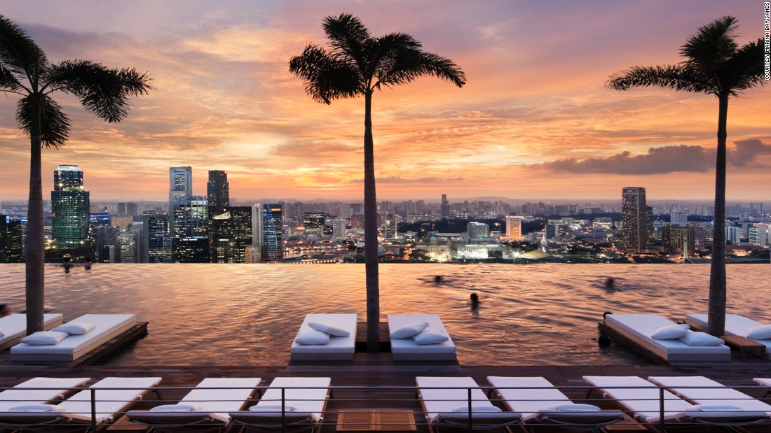 The Marina Bay Sands hotel in Singapore features an infinity pool at its rooftop.