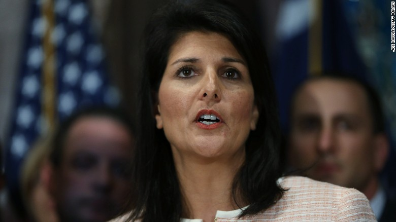 South Carolina Gov. Nikki Haley speaks to the media as she asks that the Confederate flag be removed from the state capitol grounds on June 22, 2015 in Columbia, South Carolina. Debate over the flag flying on the capitol grounds was kicked off after nine people were shot and killed during a prayer meeting at the Emanuel African Methodist Episcopal Church in Charleston, South Carolina.