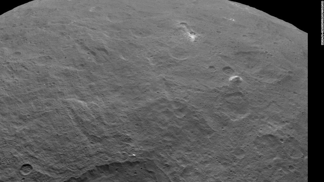 "NASA's Dawn probe <a href=""http://dawn.jpl.nasa.gov/multimedia/images/?view=grid_view&start=1"" target=""_blank"">captured this image</a> of a 3-mile-tall pyramid-shaped structure rising from a plain on the surface of the dwarf planet Ceres. The discovery has further fueled speculation about just what mysteries Ceres may hold. The image was taken on June 6, 2015."