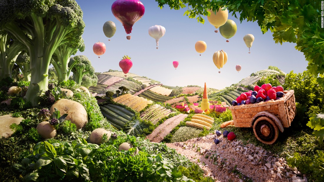"""Warner says his """"foodscapes"""" begin as a sketch. From there, he decides which ingredients will be used. A food stylist and model maker then help build the scene. It can take several days and the scenes are sometimes shot in layers in order to work quickly with fresh produce, he says."""