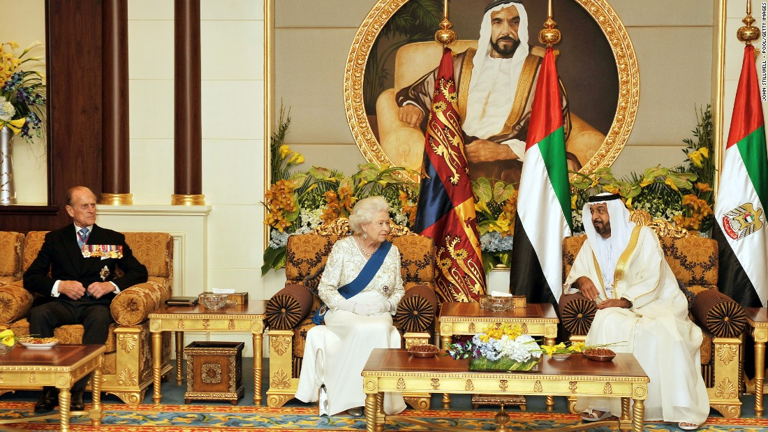 On a state visit to the Middle East in 2010, the Queen speaks with President of the United Arab Emirates, Sheikh Khalifa Bin Zayed al Nahyan, in Abu Dhabi at the Mushrif Palace.
