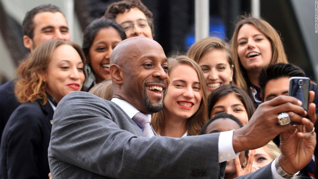 Basketball Hall of Famer Alonzo Mourning takes a selfie Thursday, June 18, while visiting the Expo Milano in Milan, Italy.