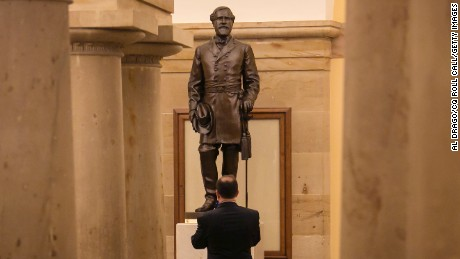 Virginia's statue of Confederate general Robert E. Lee stands in the Crypt in the U.S. Capitol.