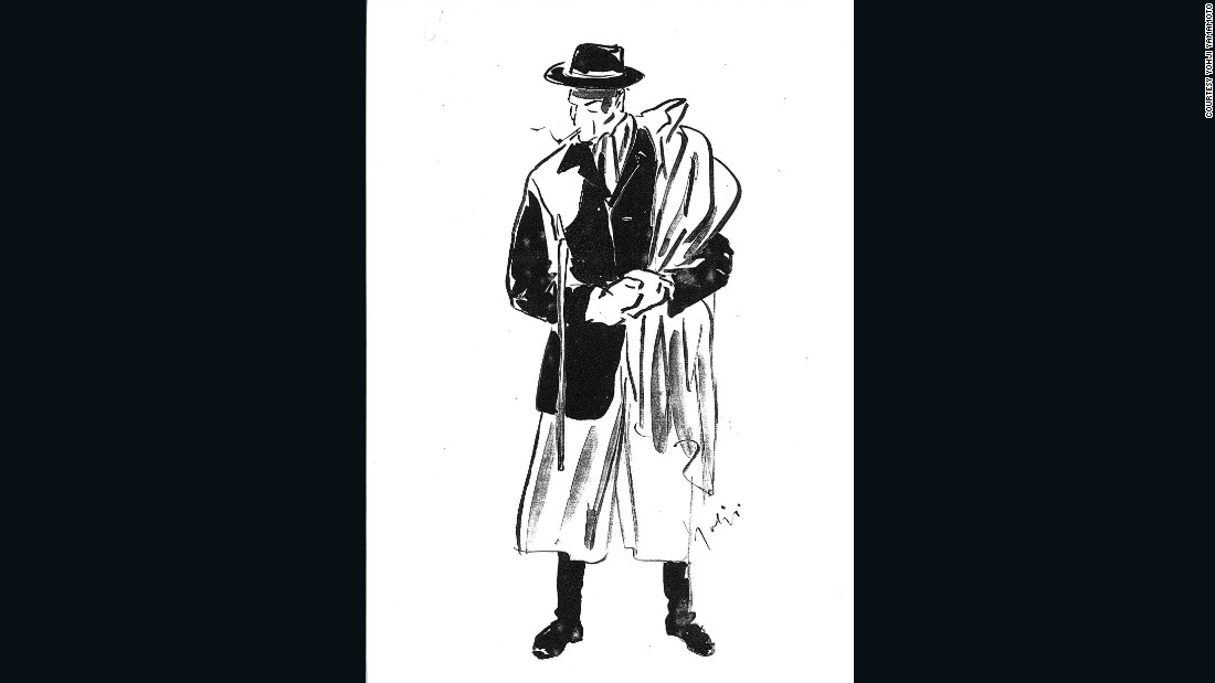 The quintessential Yohji Yamamoto man, as sketched by the designer for CNN.