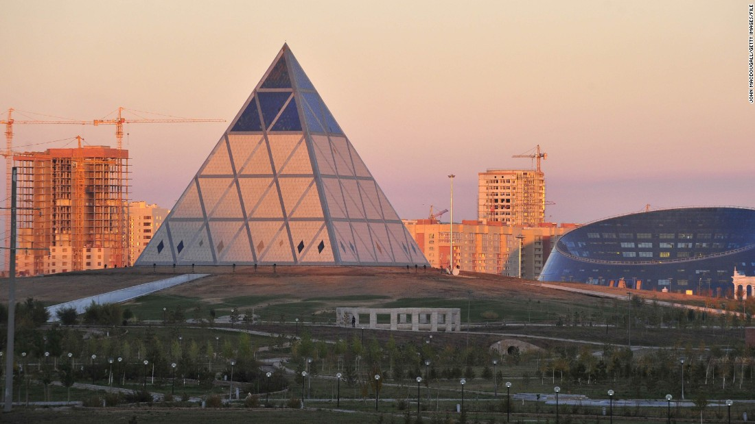 The pyramid might be an ancient design, but it's given a 21st century makeover in Astana's 62-meter-high Palace of Peace and Reconciliation (pictured center).<br />The glass pyramid was built in 2006, specifically to host the Congress of Leaders of World and Traditional Religions.