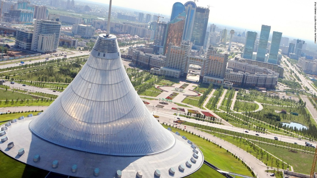 An aerial view of Astana shows some of its ambitious architectural structures.