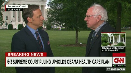 "Sen. Sanders:""very positive reaction"" to SCOTUS ruling"