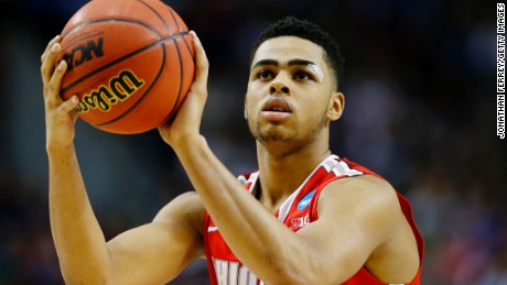 PORTLAND, OR - MARCH 21:  D'Angelo Russell #0 of the Ohio State Buckeyes takes a free htrow in the second half against the Arizona Wildcats during the third round of the 2015 NCAA Men's Basketball Tournament at Moda Center on March 21, 2015 in Portland, Oregon.  (Photo by Jonathan Ferrey/Getty Images)