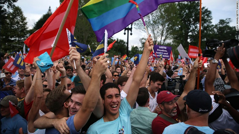 June 2015: Celebrations at the Supreme Court after marriage ruling