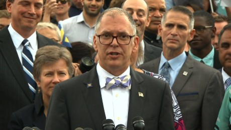 Jim Obergefell speaking on steps of Supreme Court