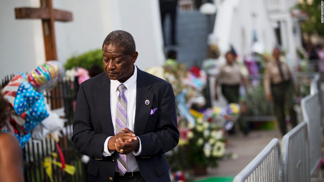 Church member Thomas Rose leaves a wake for Pinckney that was held on Thursday, June 25.